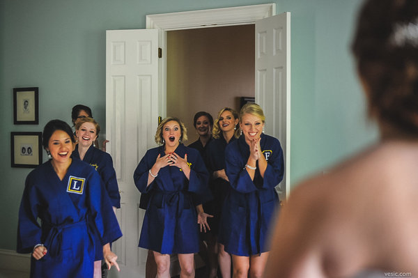 first-look-photo-bridesmaid-reaction-vesic-photography
