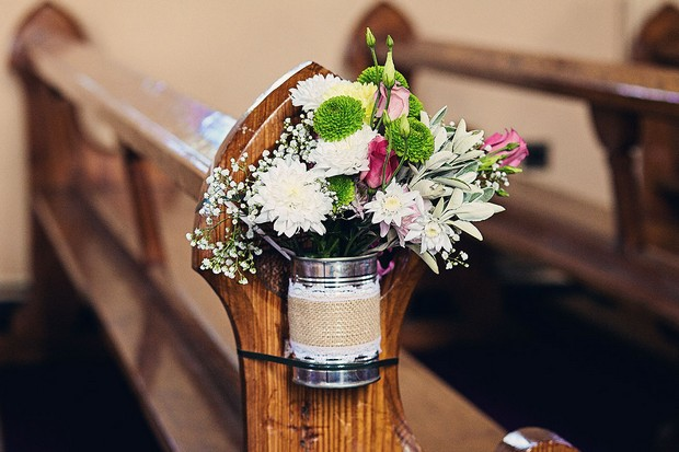 7-DIY-wedding-pew-ends-rustic-wild-flowers-weddingsonline