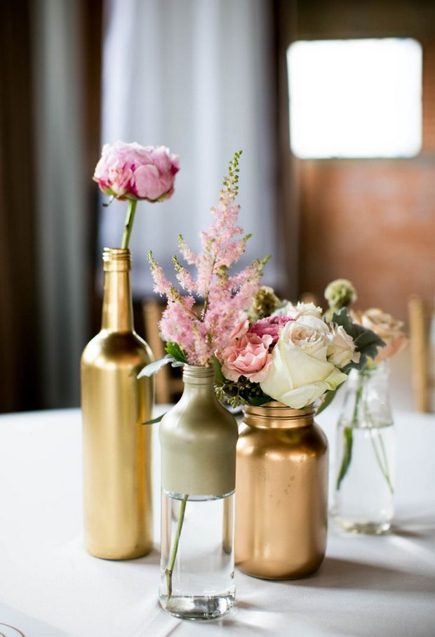 24 amazing mason jar centrepiece ideas for your big day for Painted wine bottle wedding centerpieces
