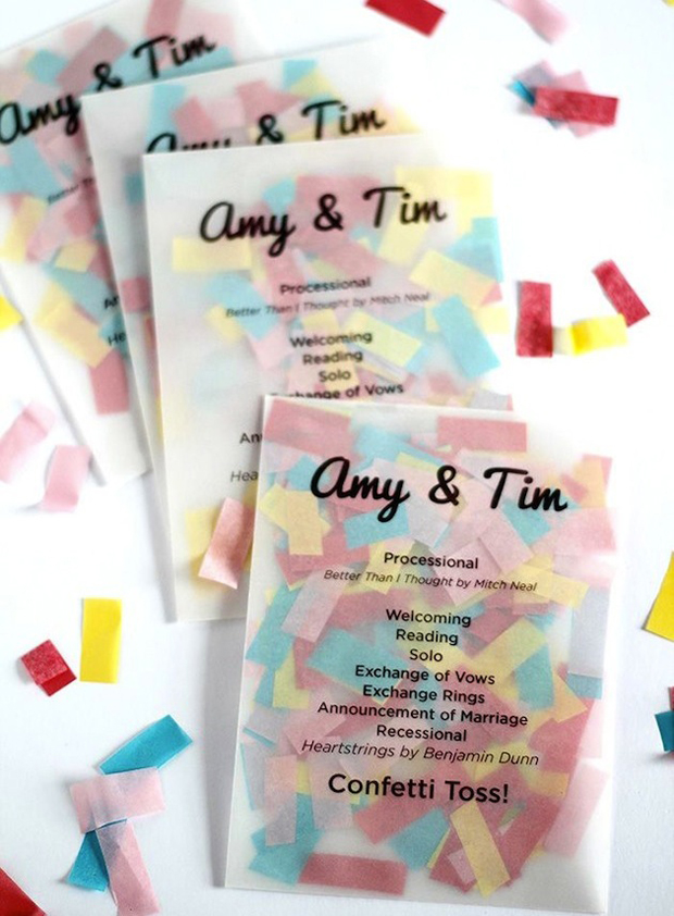 confetti-pouches-with-printed-order-of-service