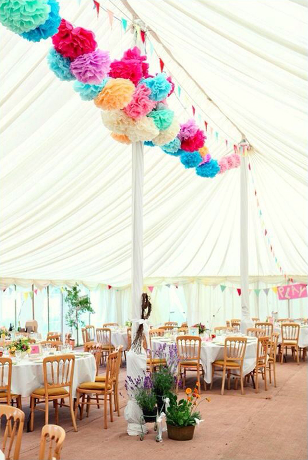 hanging-pom-poms-colourful-wedding-decor