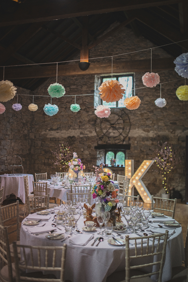 hanging-pom-poms-wedding-decor