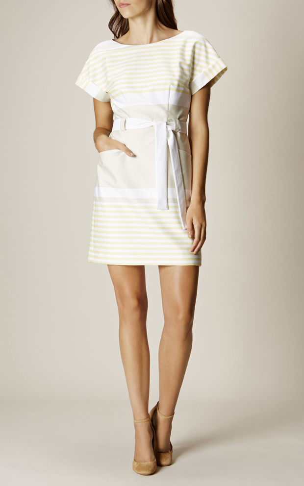 lisa-cannon's-favourite-day-after-dresses-white-and-lemon-stripe-dress-from-karen-millen