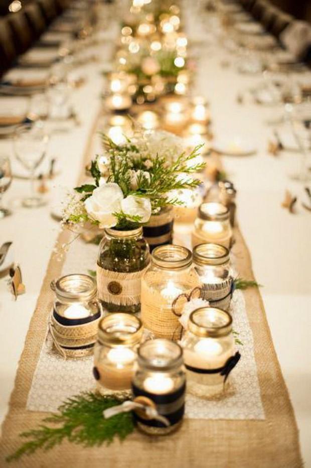 24 amazing mason jar centrepiece ideas for your big day weddingsonline mason jar cluster wedding centerpiece junglespirit Images