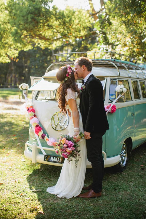 wedding-getaway-car-camper-van-with-pom-pom-garland