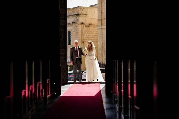 14-Bride-father-waiting-walking-up-aisle-catholic-wedding-chuch-malta-weddingsonline