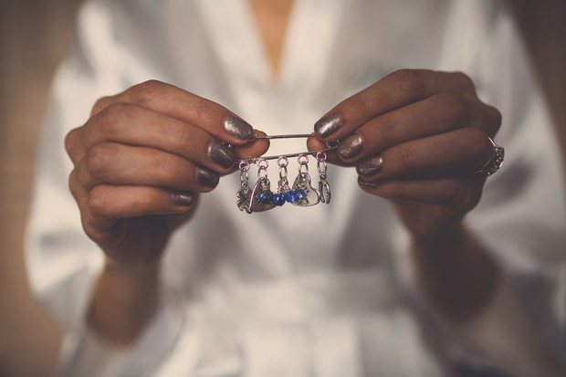 Unusual_Something_Blue_Charm_Pin_on_wedding_Dress