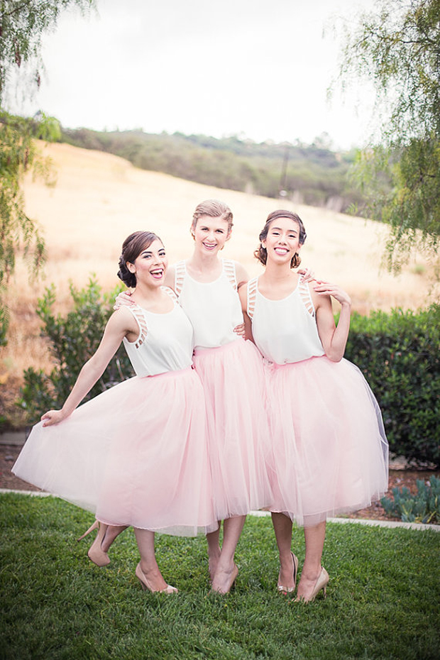 bridemsaids-in-separates-tulle-pink-skirts