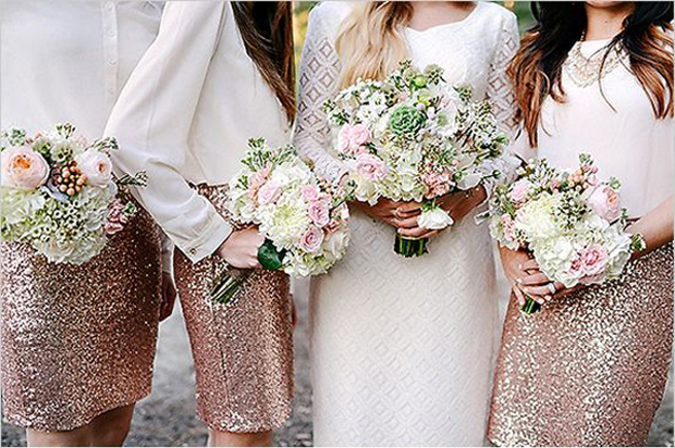 bridesmaids-in-separates-glitter-skirts-and-silk-blouses