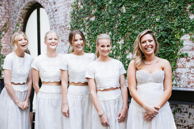 bridesmaids-in-seprates-white-lace-crop-tops