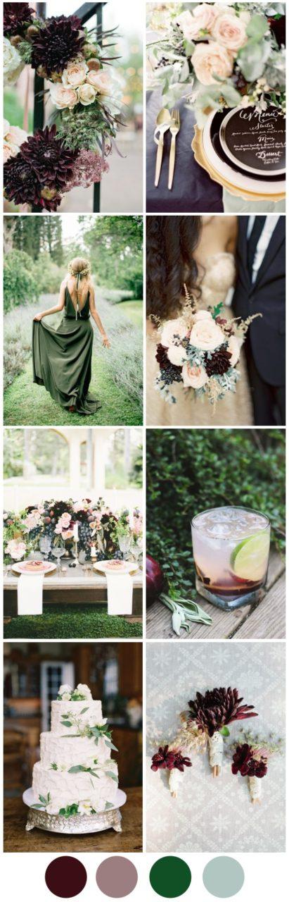 Perfect autumn wedding colours deep plum pretty sage plum sage autumn fall wedding color inspiration palette junglespirit Image collections