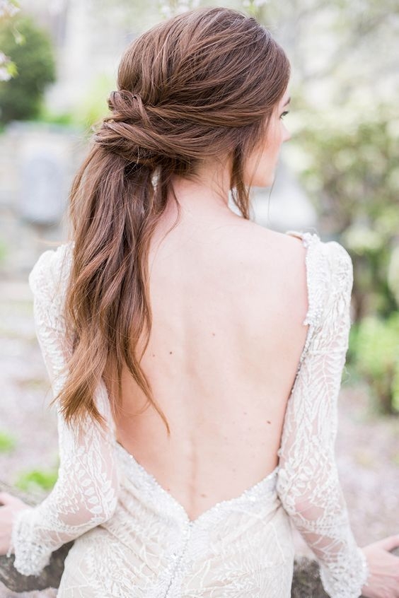 romantic-relaxed-low-pony-wedding-hair