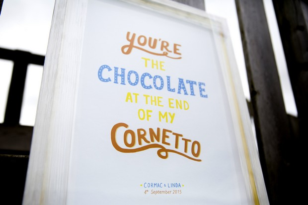 wedding-morning-gift-song-lyrics-framed-youre-the-chocolate-cornetto-lyric-framed