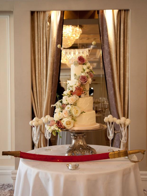 4-tier-ivory-wedding-cake-bellingham-castle-real-wedding