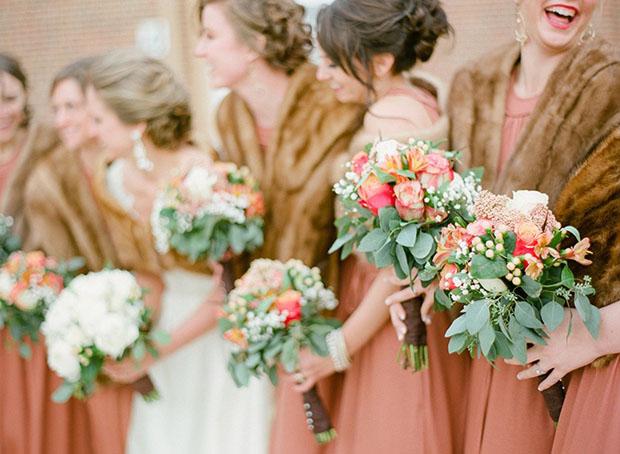 Bridesmaids-in-faux-fur-stoles