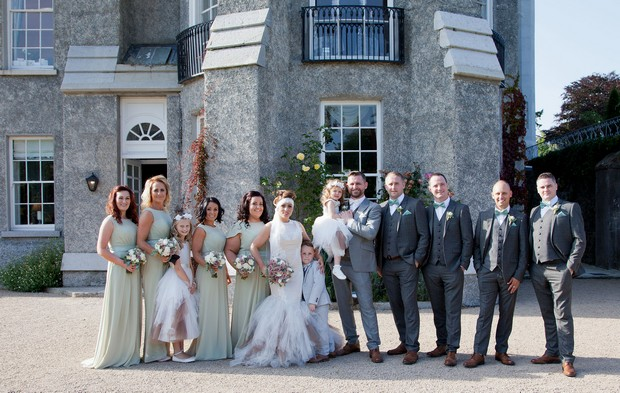 bellingham-castle-real-wedding-bridal-party-outside
