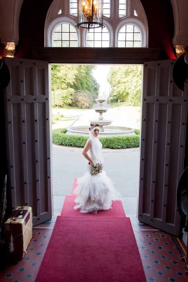 bellingham-castle-real-wedding-bride-at-door