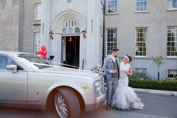 bellingham-castle-real-wedding-vintge-wedding-car