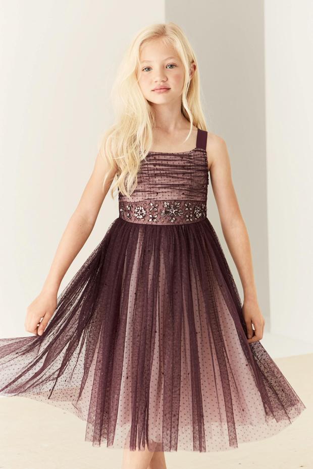berry-tulle-embellished-flower-girl-dress