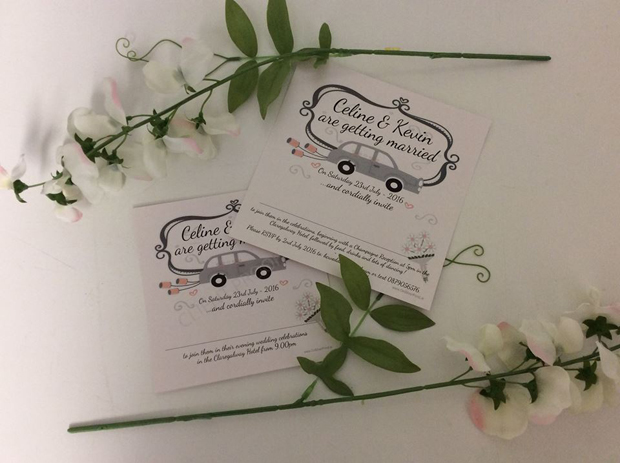 cute-illustrated-car-wedding-invitation-on-silver-pond