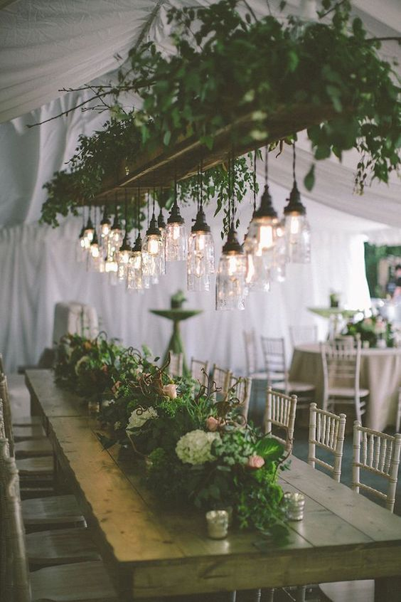 greenery-wedding-decor-hanging-lighting-banquet