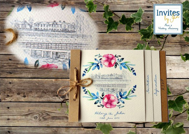 illustrated-venue-wedding-invitation-with-florals-invites-by-jen