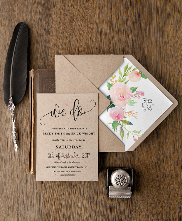kraft-paper-and-floral-wedding-invitation=4-love-polka-dots