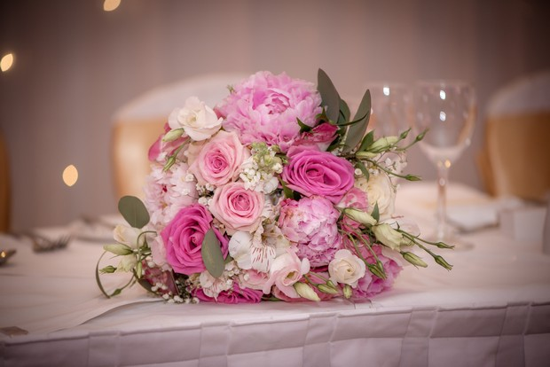 loughrea-hotel-real-wedding-paul-duane-pink-flowers