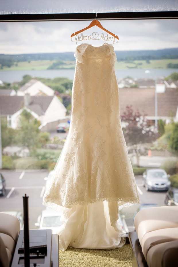 loughrea-hotel-real-wedding-paul-duane-wedding-dress-on-hanger