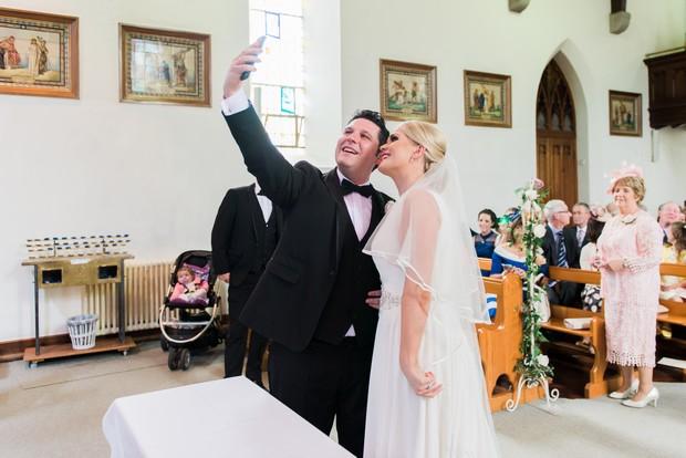 21-Modern-church-wedding-ireland-relaxed-photography-selfie-altar-weddingsonline