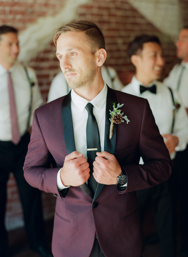 Groom-Burgundy-Suit-Black-Tie-Wedding-Style-SMP