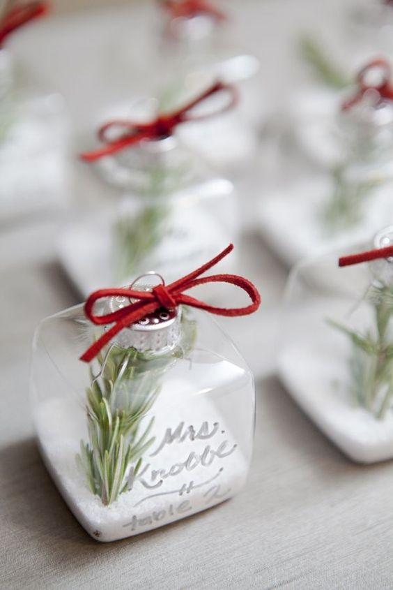 winter wedding favours christmas bauble personalised