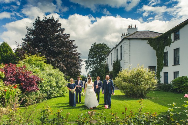 barberstown-castle-wedding-bridal-party-walking