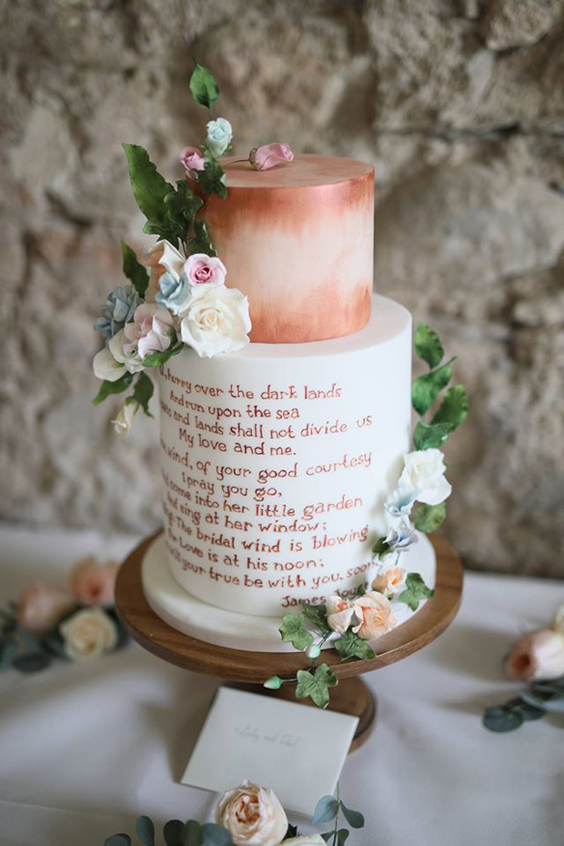 copper-and-white-two-tier-wedding-cake-with-text-detail