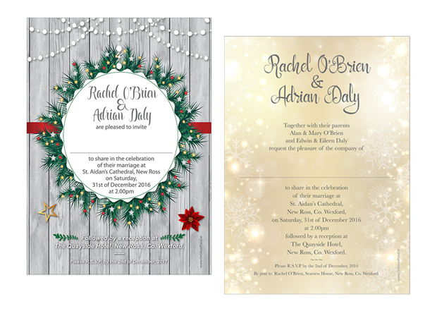 festive-wedding-invitations-on-silver-pond