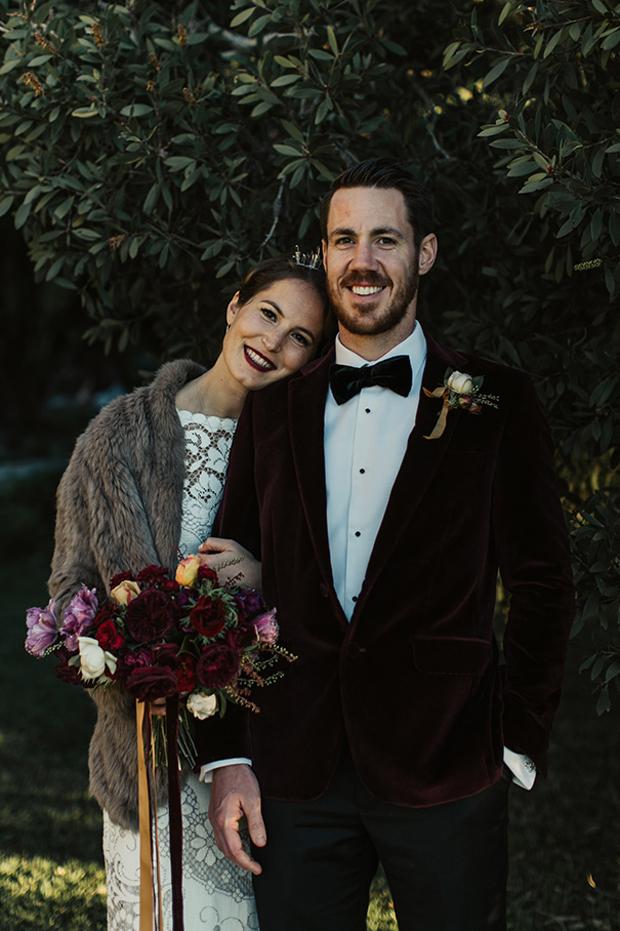 groom-in-velvet-burgundy-blazer-tuxedo