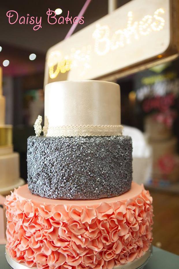 romantic-three-tier-ruffle-wedding-cake-with-glitter-detail-daisy-bakes