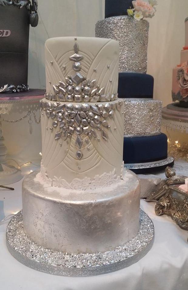 silver-jewel-encrusted-wedding-cake