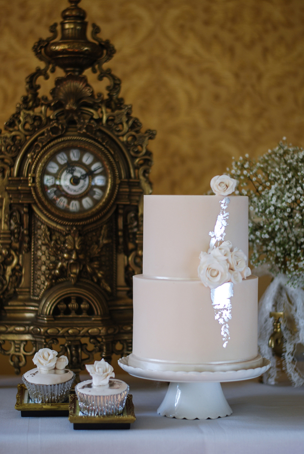 two-tier-pink=pastel-wedding-cake-with-silver-leaf