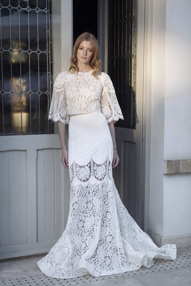 Heavenly 70s style the divine atelier 2017 collection for Spanish wedding dresses lace