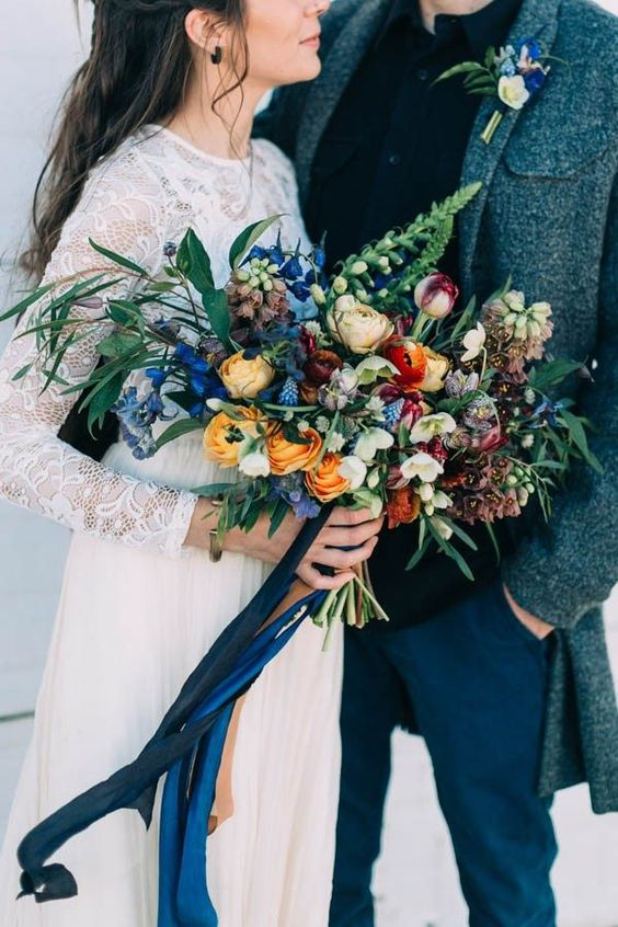 Winter-Wedding-Bouquet-Colourful-Oversized-Mustard-Blue-weddingsonline
