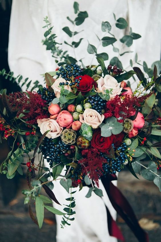 Winter-Wedding-Bouquet-Deep-Blackberry-Mix-Rustic-weddingsonline