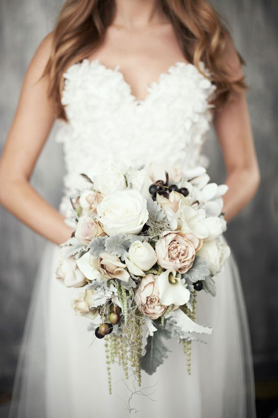 Winter-Wedding-Bouquet-Pale-Cascading-Grey-Pink-weddingsonline