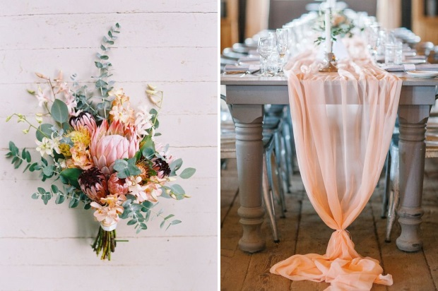 Pretty grey peach wedding inspiration summer 2017 weddingsonline peach may have garnered a bad rep from the late 80s when it seemed like every angie babs and debbie was shoved into a pouffy marshmallow like space dress junglespirit Images