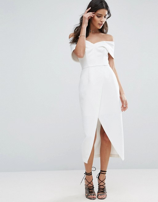 Asos Hen Party Bridal Shower Dress White Bardot