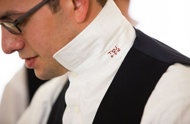 11 sweet ways to surprise your groom on the big day for Initials on dress shirts