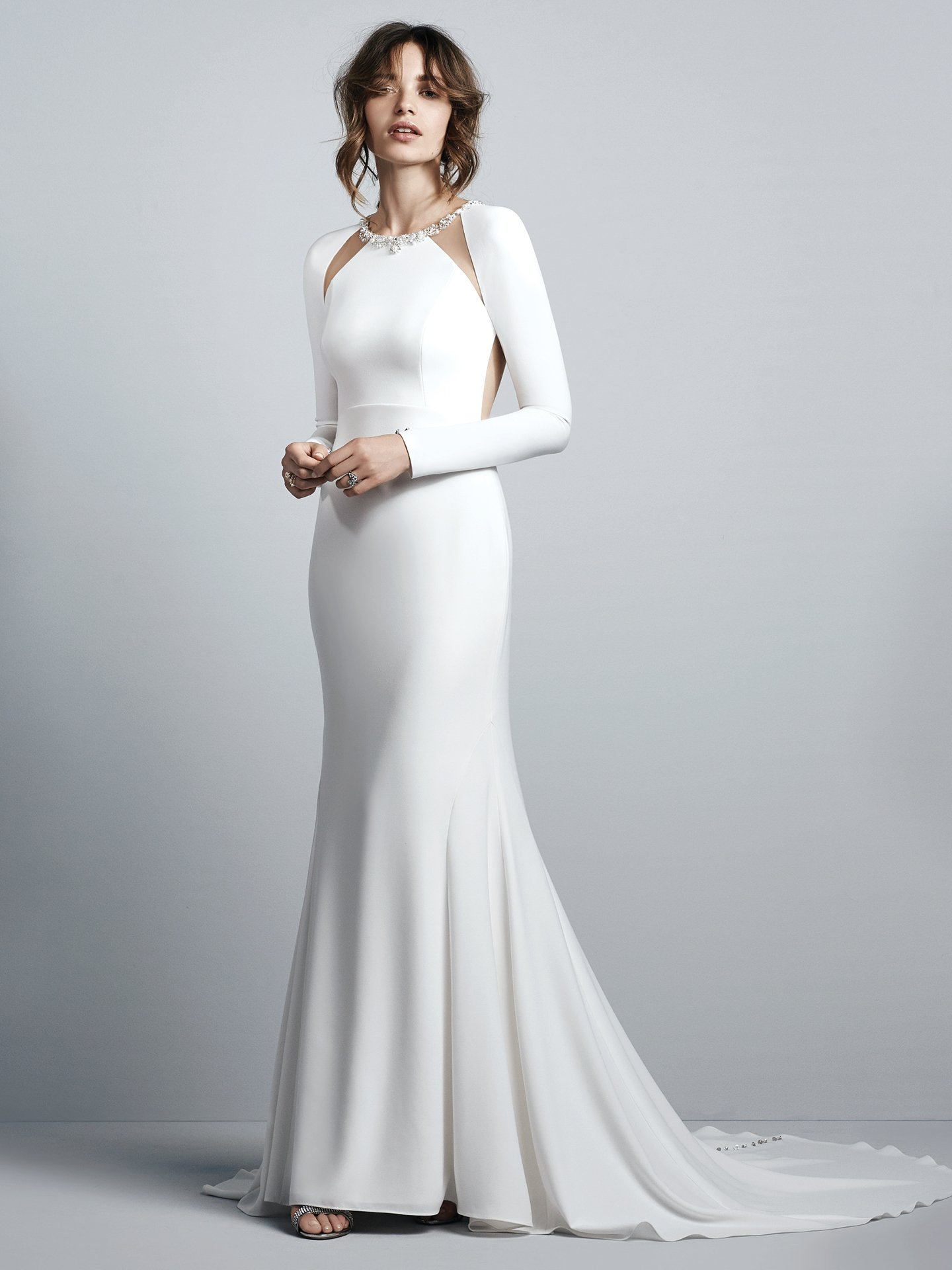 40 swoon worthy long sleeve wedding dresses weddingsonline badgley mischka stockists include anne gregory bridal in wicklow dublin bridal house kathy de stafford in dublin and tipperary and covet in dublin ombrellifo Image collections