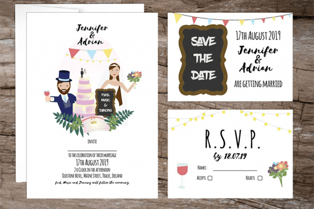 18 Beautifully Illustrated Wedding Invitations images 2