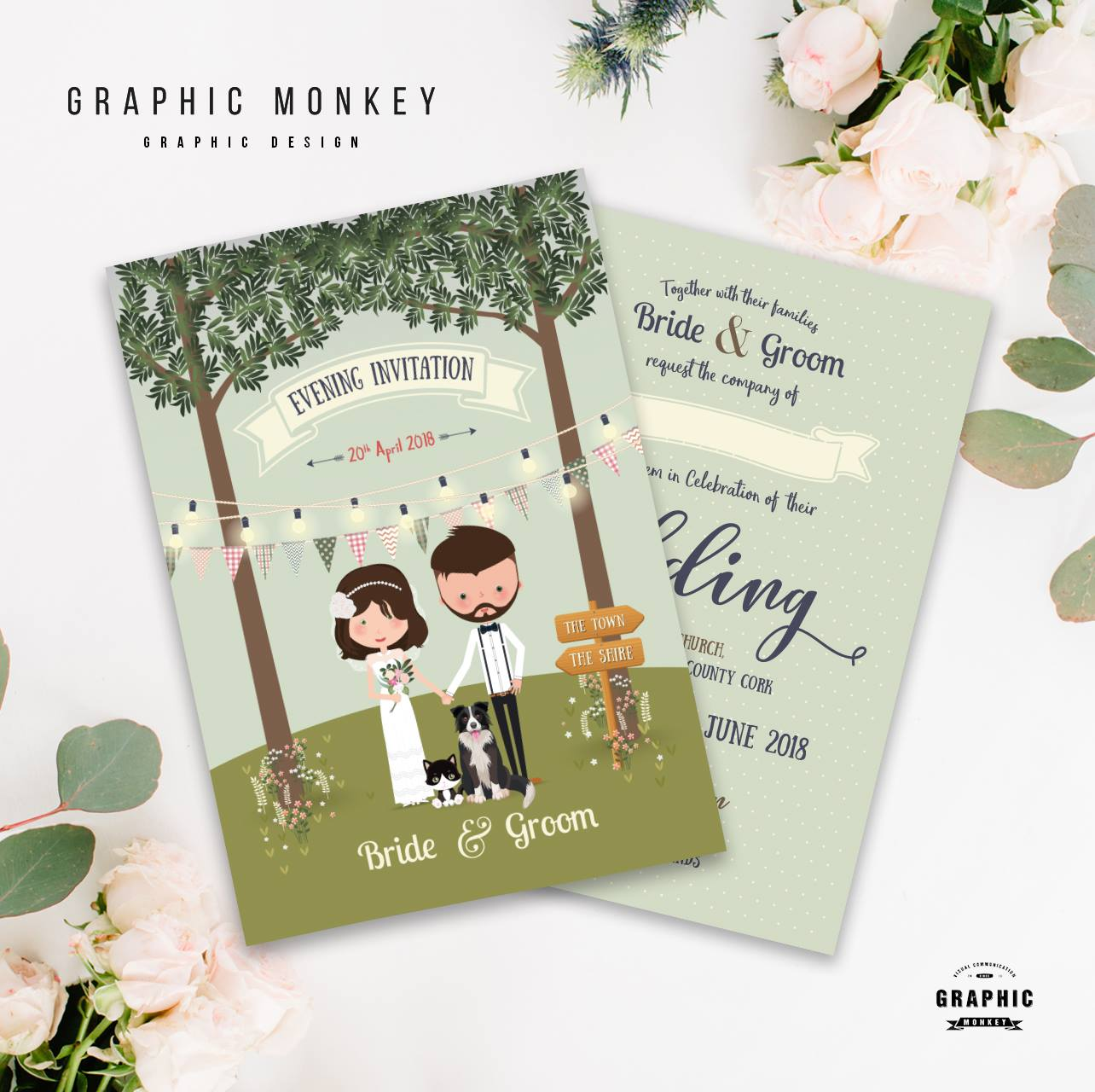 18 Beautifully Illustrated Wedding Invitations images 0
