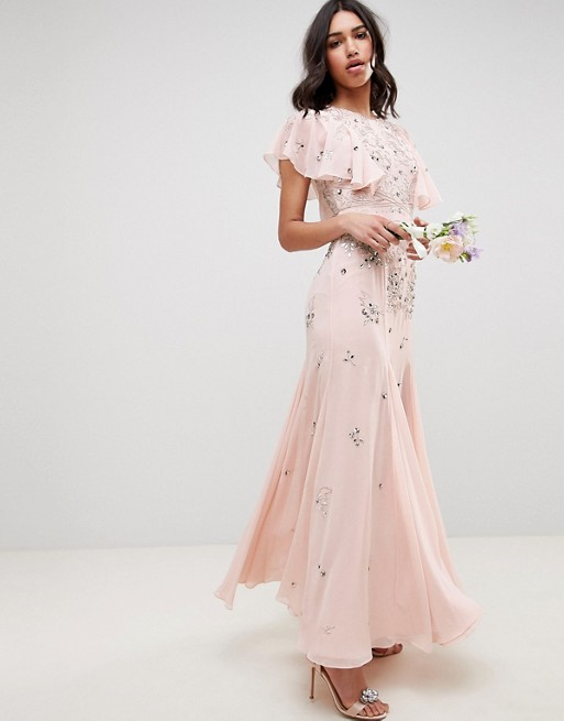 7a8080c6261 Embellished maxi dress with angel sleeve